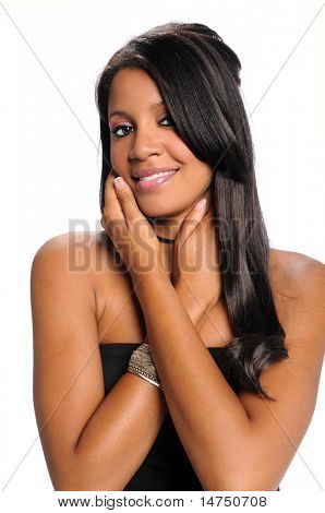 Portrait of young African American woman with hands on face