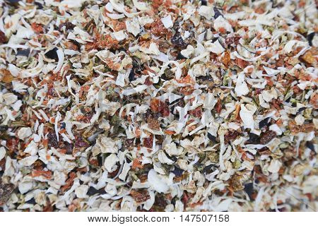 Mixture of dried vegetables, vitamin, mineral food concept