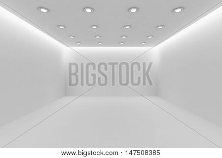 Abstract architecture white room interior - empty white room with white wall white floor white ceiling with small round ceiling lamps and hidden ceiling lights and empty space 3d illustration