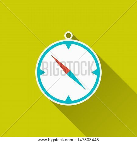 Compass, windrose, travel gear, camping equipment - icon on green field backdrop. Flat design with long shadow. Trendy modern vector illustration for your design, projects, websites or app