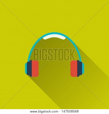 Headphones, headset icon. concept of active lifestyle, recreation, party, music. Flat design with long shadow. Vector illustration - 10 EPS - for your design, projects, websites or app
