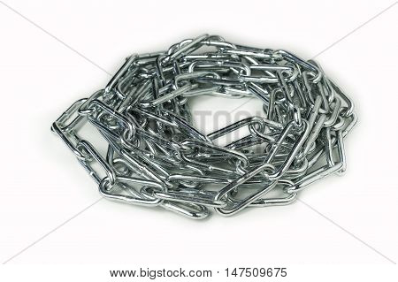 Circle of shiny metal chain with no visible ending on white background.