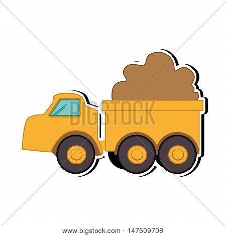 yellow truck dump. construction cargo transportation. vector illustration