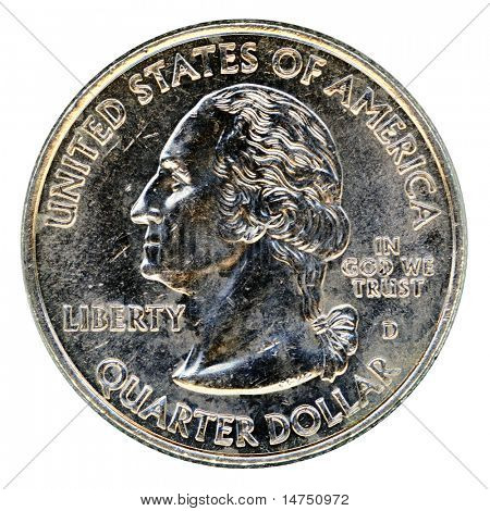 Coin of quarter of a dollar isolated over white background
