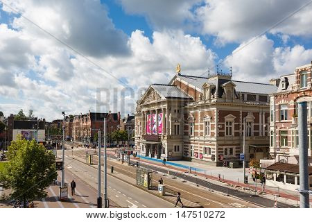 Amsterdam Netherlands - July 02 2016: The Concertgebouw building world-famous neoclassical concert hall located on Concertgebouwplein 10 sunny day