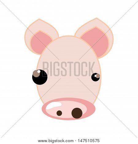 pig face with pink nose and black eyes. animal cartoon. vector illustration