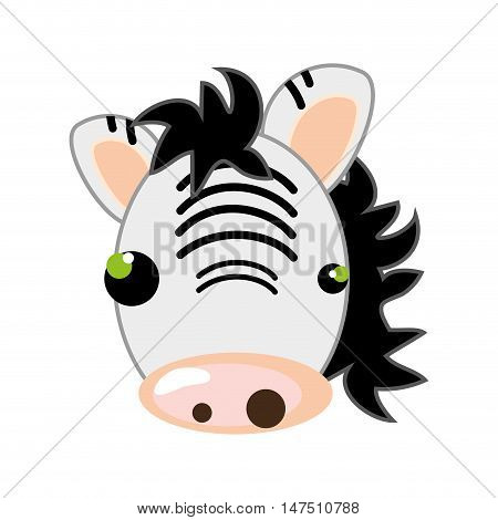 zebra face with pink nose. animal cartoon. vector illustration