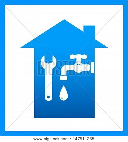 Icon With Water Tap And Wrench
