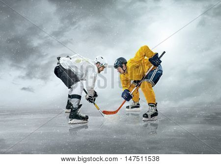 Ice hockey players before action on the ice