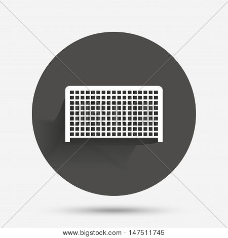 Football gate sign icon. Soccer Sport goalkeeper symbol. Circle flat button with shadow. Vector