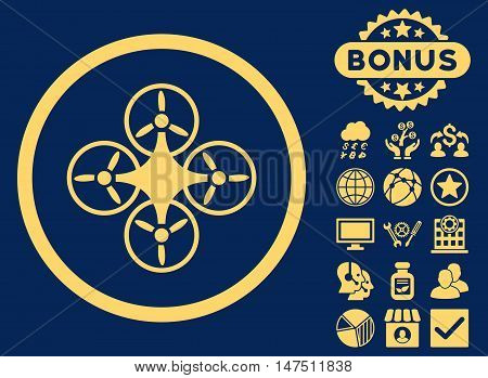 Air Drone icon with bonus pictogram. Vector illustration style is flat iconic symbols, yellow color, blue background.