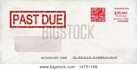 Past due envelope with postage