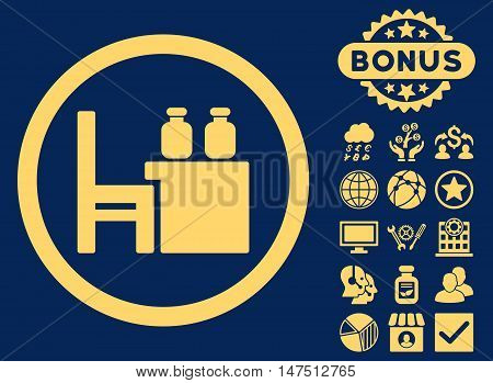 Apothecary Table icon with bonus symbols. Vector illustration style is flat iconic symbols, yellow color, blue background.