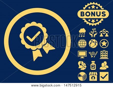 Approved icon with bonus images. Vector illustration style is flat iconic symbols, yellow color, blue background.