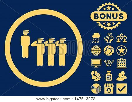 Army Squad icon with bonus pictures. Vector illustration style is flat iconic symbols, yellow color, blue background.