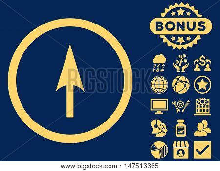 Arrow Axis Y icon with bonus images. Vector illustration style is flat iconic symbols, yellow color, blue background.
