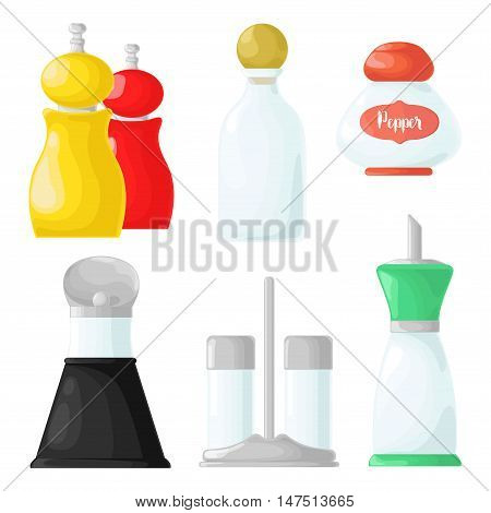 Set bottles with spices. Packaging for various seasonings in a cartoon style.
