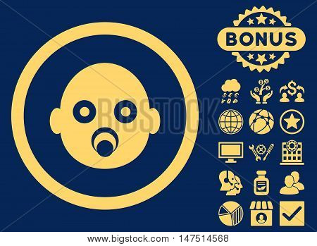Baby Head icon with bonus elements. Vector illustration style is flat iconic symbols, yellow color, blue background.
