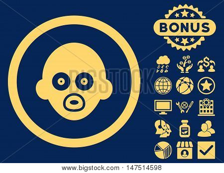 Baby Head icon with bonus pictures. Vector illustration style is flat iconic symbols, yellow color, blue background.