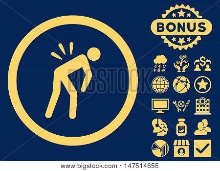 Backache icon with bonus pictogram. Vector illustration style is flat iconic symbols, yellow color, blue background.