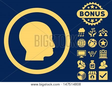 Bald Head icon with bonus pictogram. Vector illustration style is flat iconic symbols, yellow color, blue background.