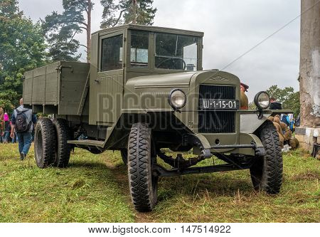 Gatchina, Russia - September 11, 2016: The historical reconstruction of World War II. Truck ZIS-5 - one of the main transport vehicle of the Red Army during the Great Patriotic War.