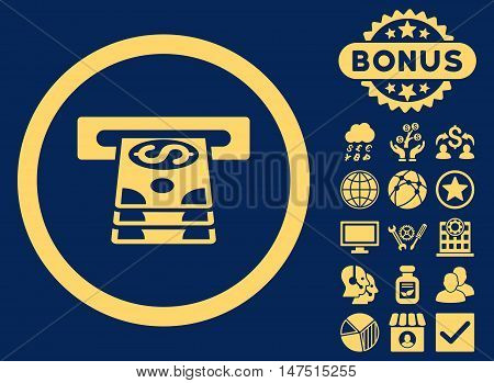 Bank Cashpoint icon with bonus design elements. Vector illustration style is flat iconic symbols, yellow color, blue background.