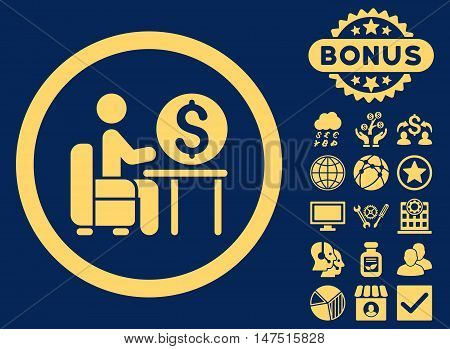 Banker Office icon with bonus elements. Vector illustration style is flat iconic symbols, yellow color, blue background.