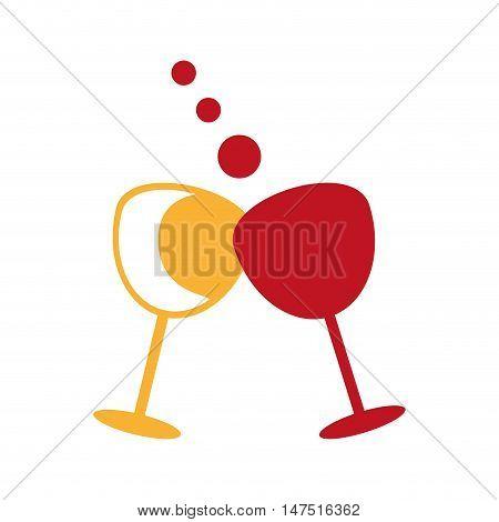 cheers glass efect. wine liquor beverage. vector illustration