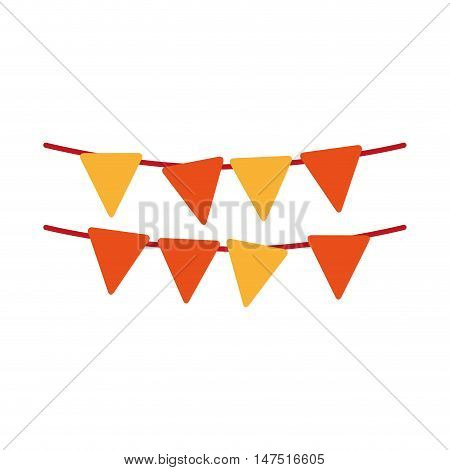 yellow and orange pennants party decoration element. vector illustration