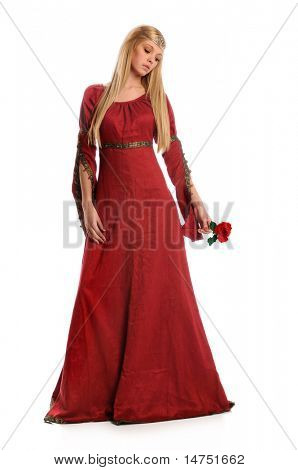 Beautiful Renaissance woman holding red rose isolated over white background