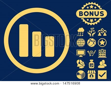 Bar Chart Decrease icon with bonus pictures. Vector illustration style is flat iconic symbols, yellow color, blue background.