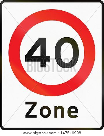 Road Sign Used In Denmark - Maximum Speed Limit Zone