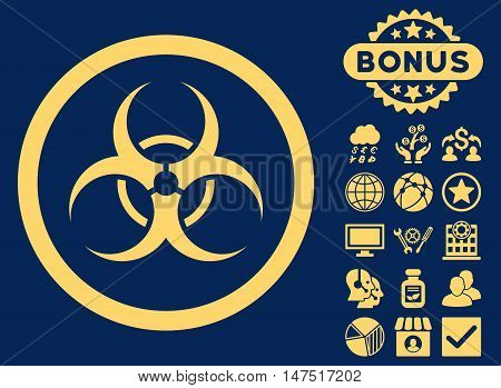 Bio Hazard icon with bonus elements. Vector illustration style is flat iconic symbols, yellow color, blue background.