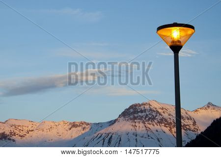 Lamppost In A Winter Night In The Mountain