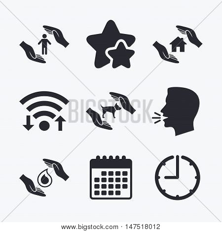 Hands insurance icons. Shelter for pets dogs symbol. Save water drop symbol. House property insurance sign. Wifi internet, favorite stars, calendar and clock. Talking head. Vector