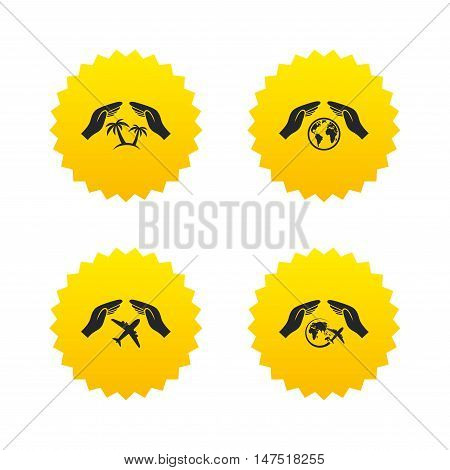 Hands insurance icons. Palm trees symbol. Travel trip flight insurance symbol. World globe sign. Yellow stars labels with flat icons. Vector