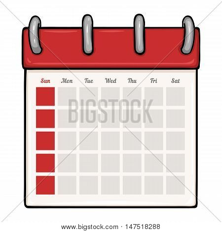 Vector Cartoon Loose-leaf Blank Calendar