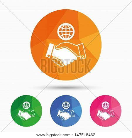 World handshake sign icon. Amicable agreement. Successful business with globe symbol. Triangular low poly button with flat icon. Vector