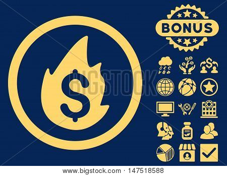 Business Fire Disaster icon with bonus design elements. Vector illustration style is flat iconic symbols, yellow color, blue background.
