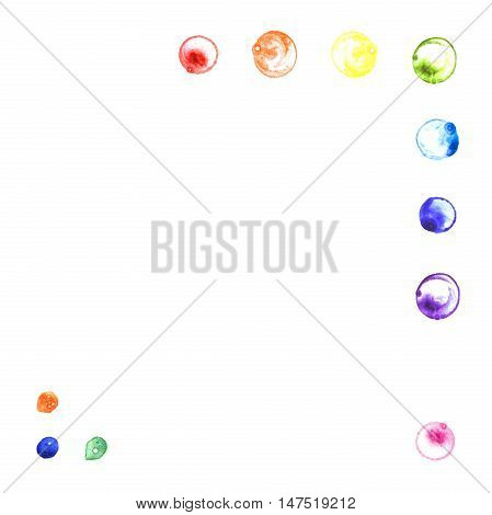 Watercolor illustration of rainbow soap bubbles corners.Hand made painting.