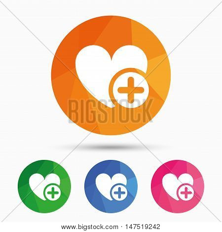 Heart sign icon. Add lover symbol. Plus love. Triangular low poly button with flat icon. Vector