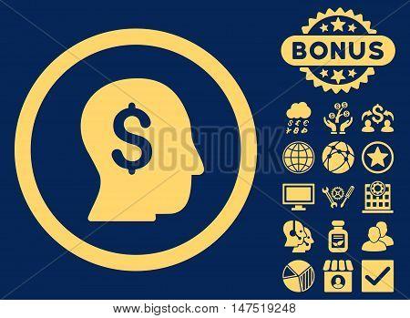 Businessman icon with bonus pictogram. Vector illustration style is flat iconic symbols, yellow color, blue background.