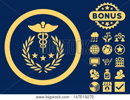 Caduceus Logo icon with bonus elements. Vector illustration style is flat iconic symbols, yellow color, blue background.
