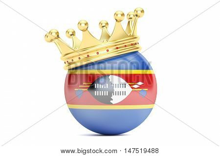 Crown with flag of Kingdom of Swaziland 3D rendering