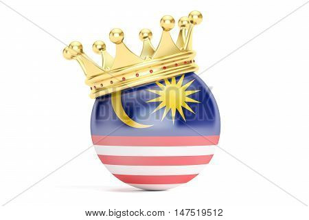 Crown with flag of Malaysia 3D rendering