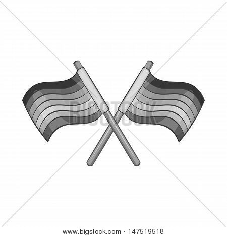 Two crossed striped flags icon in black monochrome style on a white background vector illustration