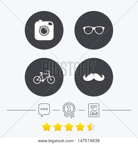 Hipster photo camera with mustache icon. Glasses symbol. Bicycle family vehicle sign. Chat, award medal and report linear icons. Star vote ranking. Vector