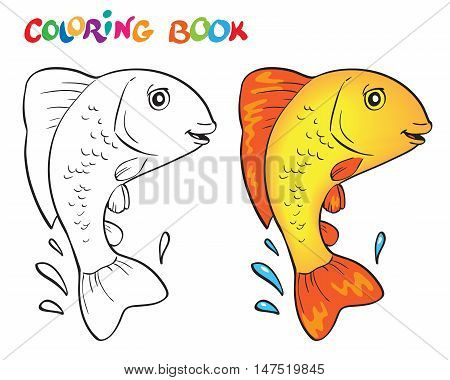 Hand drawn vector goldfish in black and white. Coloring book