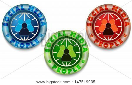 Three icon with color back light and the words social media